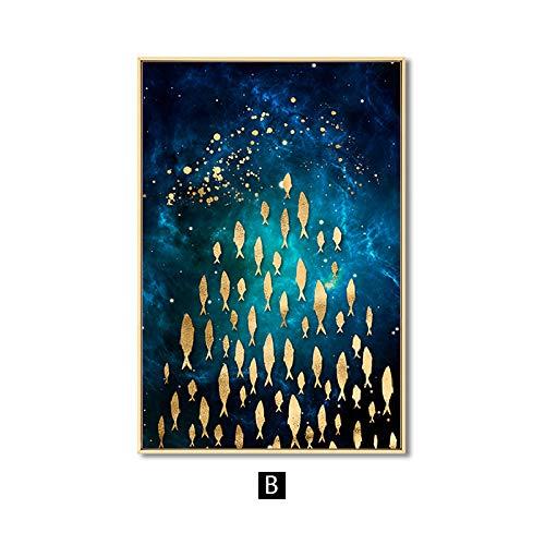 zgmtj Goldener Fisch Schmetterling Vogel Wandkunst Leinwand Abstrakte Malerei Moderne Wohnkultur Poster und Drucke Dekoration Bild Wohnzimmer