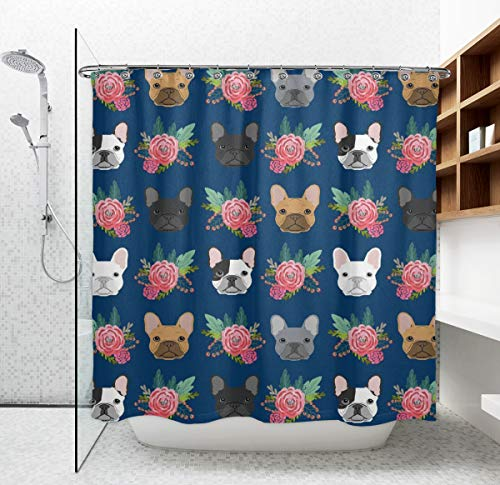 NiYoung Water-Repellent & Machine Washable Funny Bathroom Shower Curtain French Bulldog Flowers, Thick Polyester Bath Curtain with 12 Hooks 72 x 70 Inches Standard Size for Spa Hotel Home