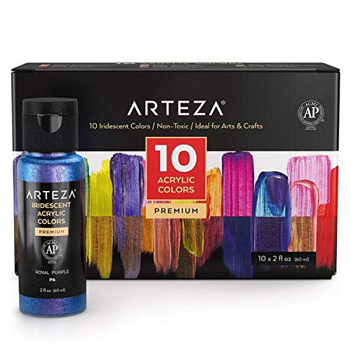Arteza Iridescent Acrylic Paint Set, 60 ml Bottles, 10 Chameleon Colors, High Viscosity Shimmer Paint, Water-Based, Blendable, for Canvas, Wood, Rocks, Fabrics