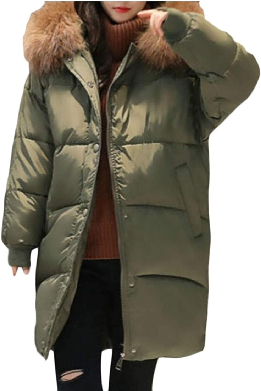 LEISHOP Women Faux Fur Fleece Lined Warm Parka Jacket Down Parka Coat