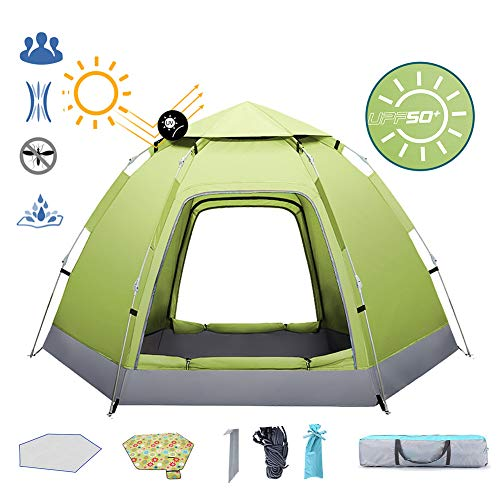 ZYQDRZ Family Outdoor Camping Tent, Shade Waterproof Pop-up Tent, Hexagonal Dome Tent, Suitable For 2-3 People,Green,90.5 * 78.7 * 43.3in