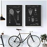FUXUERUI Vintage Badminton Patents Prints Poster Raqueta de bádminton Pintura en lienzo Imagen de arte de pared para decoración de gimnasio de sala de deportes, 30x40cmx2 Sin marco