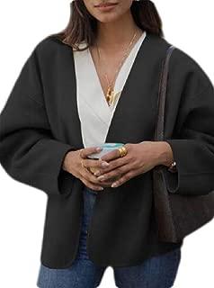 Women Open Front Cardigan Drape Coat Wool Blends Coat Outerwear