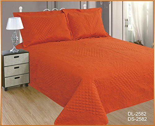 ForenTex- Colcha Boutí Cosida, (DL-2582), Cama 150 cm, 240 x 260 cm, Naranja