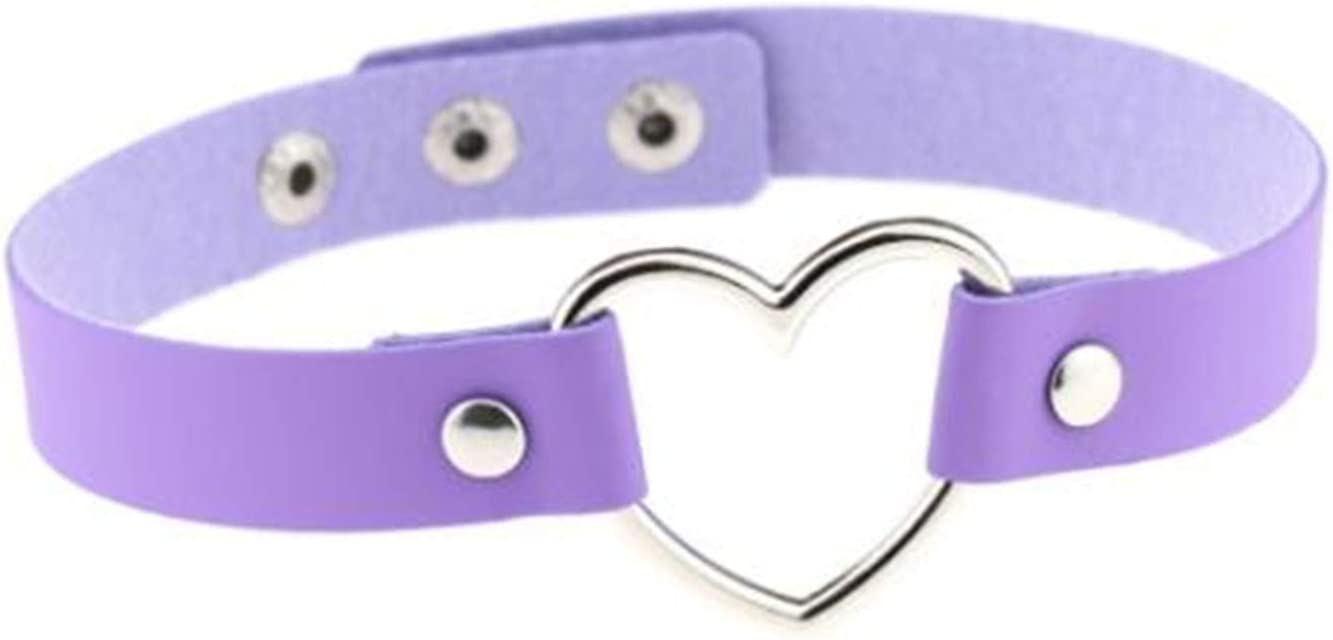 DAIHUI Leather Peach Heart Love Shaped Collar Choker Short Clavicle Necklace for Girl and Women(Light Purple)