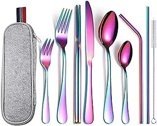 Ensemble d'ustensiles de cuisine, Silverware Set Couteaux Couverts Ensembles Arc-en-ciel Gris 36 pièce, Vaisselle Set Cutl...