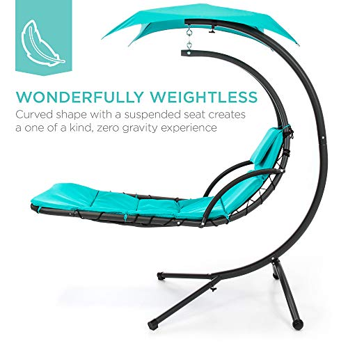 Best Choice Products Outdoor Hanging Curved Steel Chaise Lounge Chair Swing w/Built-in Pillow and Removable Canopy, Teal