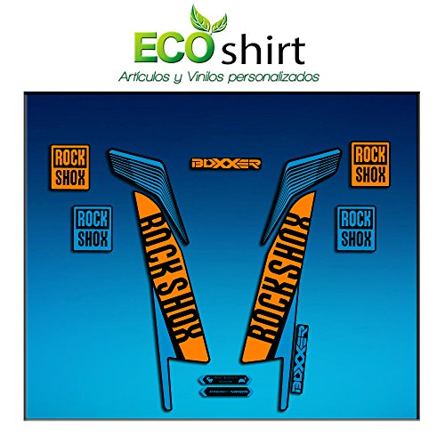 Ecoshirt 9O-XJD1-GIXF Aufkleber Stickers Fork Rock Shox Boxxer World Cup 2016 Am77 Aufkleber Decals Autocollants Adesivi Forcela Gabel Blau
