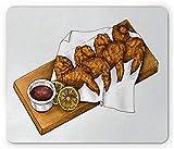 Alfombrilla de ratón para Alimentos, Imagen gráfica de alitas de Pollo y Salsa en un Tablero de Servicio de Madera, Alfombrilla de Goma Rectangular Antideslizante
