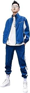 Mogogo Men's Pants Jackets Lightweight Patchwork Zip-Up Tracksuit Outfit