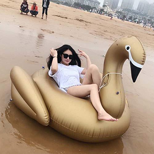 FEIDIAO Aufblasbarer Gold Schwan 190*170*120cm luftmatratze Wasser schwimmring Garten Pool Deko für Erwachsene Kinder, Insel für Pool wasserhängematte mit Netz Erwachsene