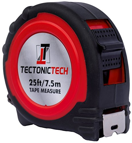 Tectonic Tech Locking Red Tape Measure 25 Foot - 7.5 Meters With Belt Clip and...