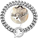 Dog Choke Chain Collar High Polished Cuban Link Chain 15MM Strong Heavy Duty Chew Proof Adjustable Training Walking Collar with Toggle Clasp for Small Dogs American Pitbull German Shepherd(15MM, 10')