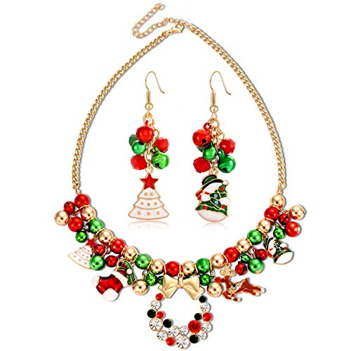 FAERLIIRY Christmas Jingle Bell Necklace Set X-mas Crystal Pendant Necklace Bell Beaded Earrings Festival Holiday Jewelry Set for Women Girls Kids (Gold)