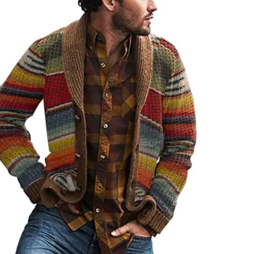 guoYL26sx Westerse stijl trui vest heren gebreide kleding blokken regenboog gestreepte trui losse jas