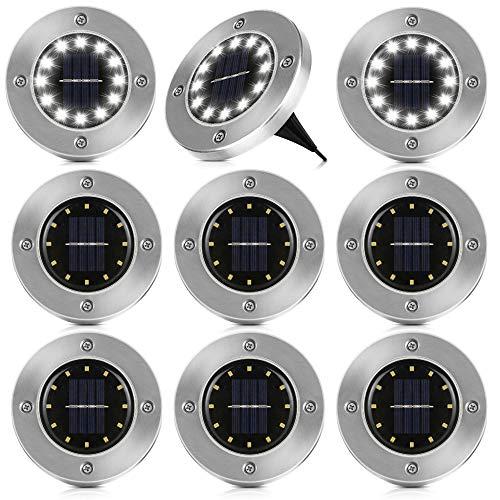 8er Solar Bodenleuchten Aussen Sylanda 12 LEDs Lampenperlen Solar Leuchte IP65 Wasserdicht Garten Landschaft Beleuchtung Edelstahl Außenleuchte Solar Path Lights für Yard Auffahrt Rasen -Kaltweiß