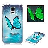 Cover Samsung S5 Neo Silicone, Aeeque Brillantini Luminosa Modello Farfalle Blu Custodia in Silicone Morbido per Samsung Galaxy S5/S5 Neo 5.1' Trasparente Bordo Antiurto Telefono Rigida Bumper