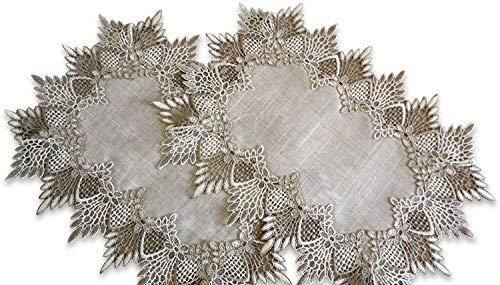 SET of TWO Doilies Dresser Scarf Neutral Earth Tones European Lace Place Mats