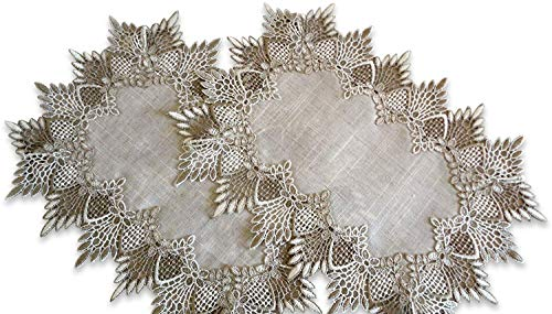 SET of TWO Doilies Dresser Scarf Neutral Earth Tones European Lace Place Mats