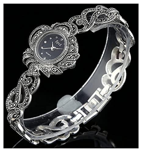 CDPC Reloj de pulsera retro gótico negro de plata de ley 925 movimiento de cuarzo reloj de diseño ovalado con incrustaciones de diamante reloj de mujer