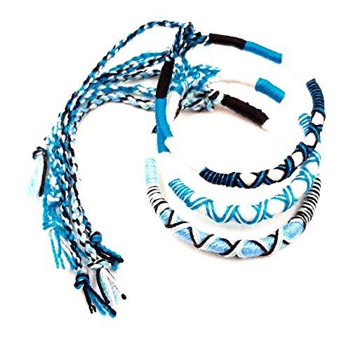 Lote de 3 pulseras brasileñas de la amistad de algodón trenzado, macramé, amuleto de la suerte para hombre, mujer, niña, niña, azul y blanco