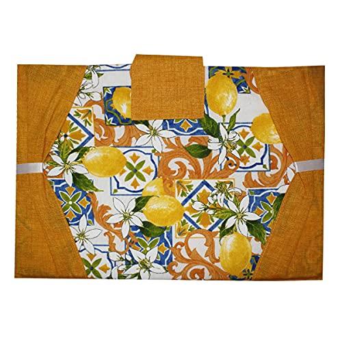 Russo Tessuti - Cubrehorno y cubrehorno, diseño de limones, color amarillo