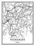 Feidazh Impresión en Lienzo Portugal Guimaraes Cuadro en Lienzo Modernos Mapa de la Ciudad Cuadro sobre Lienzo Blanco y Negro Pinturas Murales Arte Cuadro Decoracion para Salon Dormitorio 50x70cm