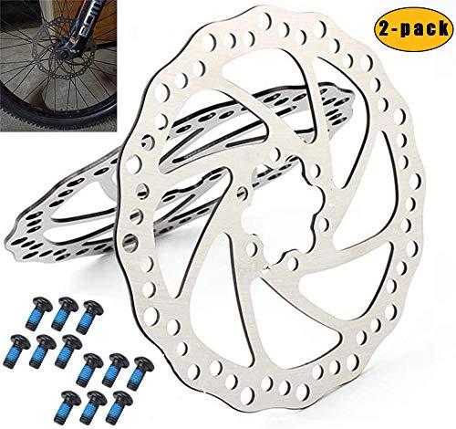 Rotor de freno de disco de 160 mm Rotor de freno de disco de bicicleta de acero inoxidable 6 pernos para la mayoría de las bicicletas Bicicleta de carretera Bicicleta de montaña BMX MTB Paquete de 2