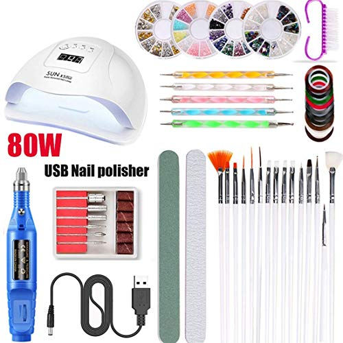 YANG Electric Manicure Kit Nail Remover,20000 RPM Mini Pen Type Electric Nail File Set 15 in 1 Multi-Function Electric Manicure Kit USB Phototherapy Nail Machine