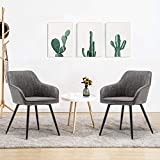 Faux Leather Accent Chairs Dining Chairs Arm Chairs Upholstered Side Chairs Modern Chairs with Metal Legs for Office Living Room Chairs Set of 2, Gray