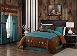Chezmoi Collection Winslow 7-Piece Western Star Embroidery Microsuede Oversized Bedding Comforter Set (Queen, Teal/Brown)