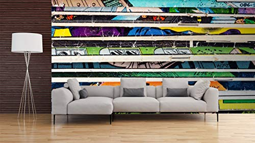 Oedim Papier Peint Revêtement Surface Mural | Motif Mur d'image Les Comics Lignes Horizontal | De 500 x 300 cm | Sticker Vinyle Adhésif Autocollant Fond Mural | Decoration d'intérieur
