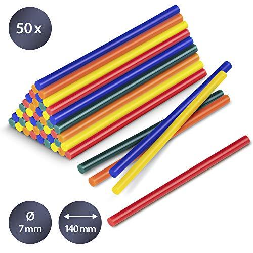 TROTEC 50 Stück Heißklebestifte 7 mm Bunt - Klebstoff für 7mm Heißklebepistole Heißkleber Sticks Klebestifte