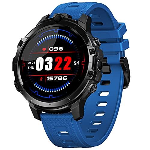 APCHY Reloj Inteligente Smartwatch GPS De Hombres,Rastreador De Fitness De Tarjeta 4G + 64G8 Core Chip Pantalla De 1.6 Pulgadas con Cámara Doble Reconocimient Cara Y Ritmo Cardíaco Detecciones,Azul