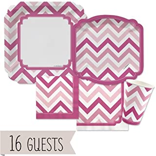 pink chevron tableware