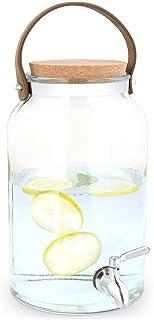 Navaris Dispensador de Bebidas con Grifo - Recipiente de Agua de Vidrio de 8 L - Botella de Cristal con Tapa y Cierre - Bidón con dosificador y asa