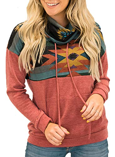 AlvaQ Womens Cowl Neck Lightweight Pullover Tunic Sweatshirt Tops Fall Long Sleeve Printed Color Block Shirts Blouses with Pocket Red 2X