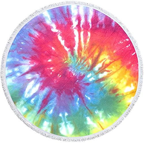 Opprxg Mandala Toalla de Playa Redonda geométrica Borla Colorida Toalla de baño Bohemia Adultos Picnic Yoga Mat Manta 150x150cm