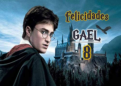 OBLEA de Harry Potter Personalizada con Nombre y Edad para Pastel o Tarta, Especial para cumpleaños, Medida Rectangular de 28x20cm