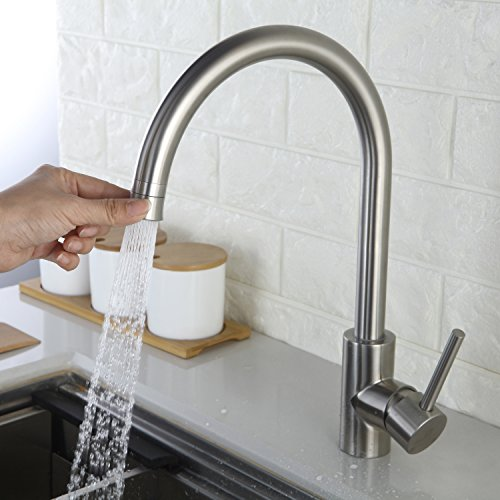 Homelody Küchenarmatur 360° drehbar Wasserhahn Armatur Edelstahl Mischbatterie Spülbecken Einhebelmischer Spüle für Küche