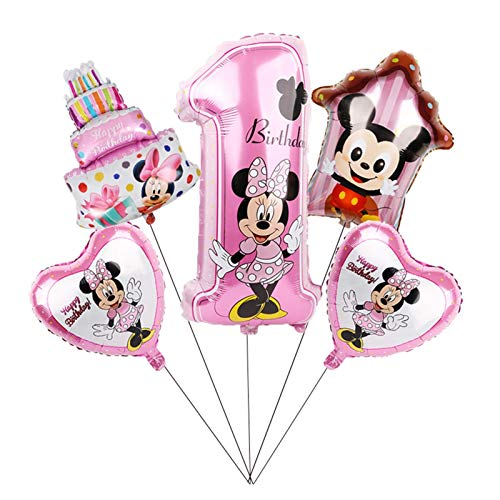 MAZ Globo 1Set Mickey Minnie Mouse Star Helium Balloons Fiesta de Cumpleaños Ducha Ducha 1Er Número de Cumpleaños Juguetes de Globo,2