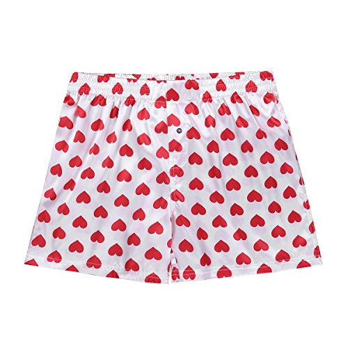 ACSUSS Men's Frilly Satin Boxers Shorts Silk Summer Lounge Halloween Underwear Heart Print White L