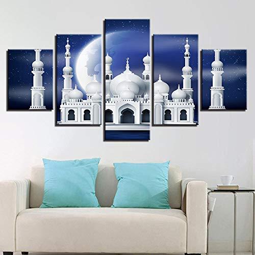 EIGYU 5 Piezas lienzoMezquita islámica Musulmana abstractacuadros en lienzoartwork decoración dedecoración de Interiores-with Frame-110x60Cm