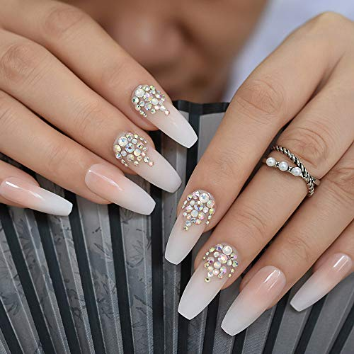 CoolNail 3D Bling Glitter Ombre Gradeint Natrual Nude French Ballerina Coffin False Fake Nails Extra Long Press on Party Finger Wear 24pc