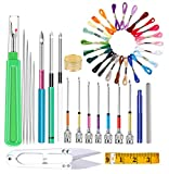 Punch Needle Tool Kit 24 Rainbow Color Embroidery Thread 10 Pcs Embroidery Punch Needles Soft Tape Measure Yarn Scissors Seam Ripper Thimble Threader for Embroidery Floss Poking Cross Stitching