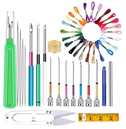 DIY Cross Stitch Floss Threads Kits Magic Embroidery Pen Stitching Punch Needles