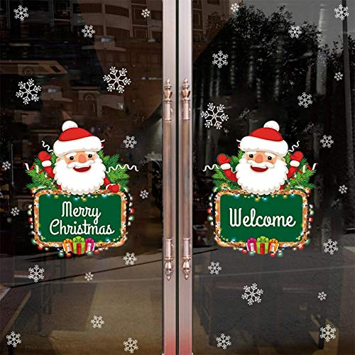 JYKFJ Christmas Snowman Snowflake Door Sticker DIY New Year Waterproof Bedroom Store Decoration Wall Sticker Home Decoration Winter