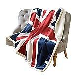 USTIDE Super Soft Union Jack Fleece Blanket The Sherpa Throw Blanket Super Comfy Blanket Comfort Caring Gift Blanket 51'x63'