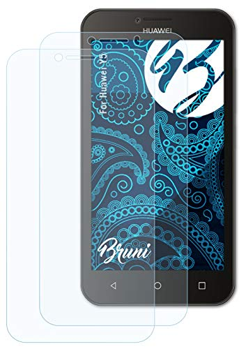 Bruni Schutzfolie kompatibel mit Huawei Y5 Folie, glasklare Bildschirmschutzfolie (2X)
