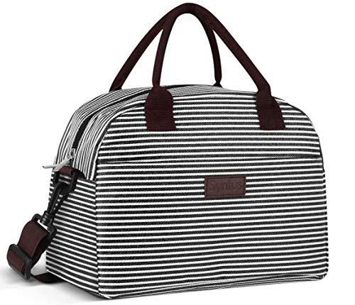 Syntus Lunch Bag for Women and Men Large Tote Insulated Lunch Box with Pockets & Detachable Shoulder Strap for Work Picnic Travel Lunch Container (Black/White)